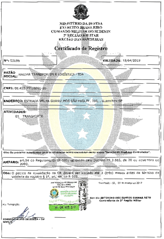 Certificado do Exército