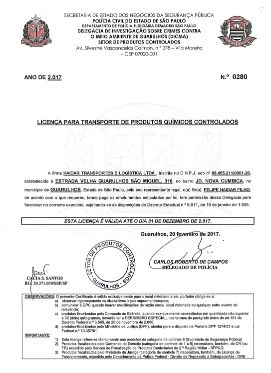 Certificado Policia Civil