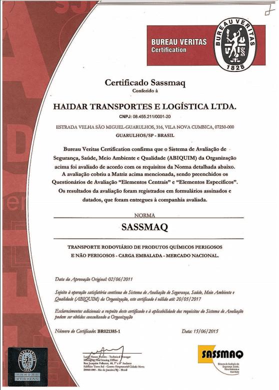 SASSMAQ Certificate