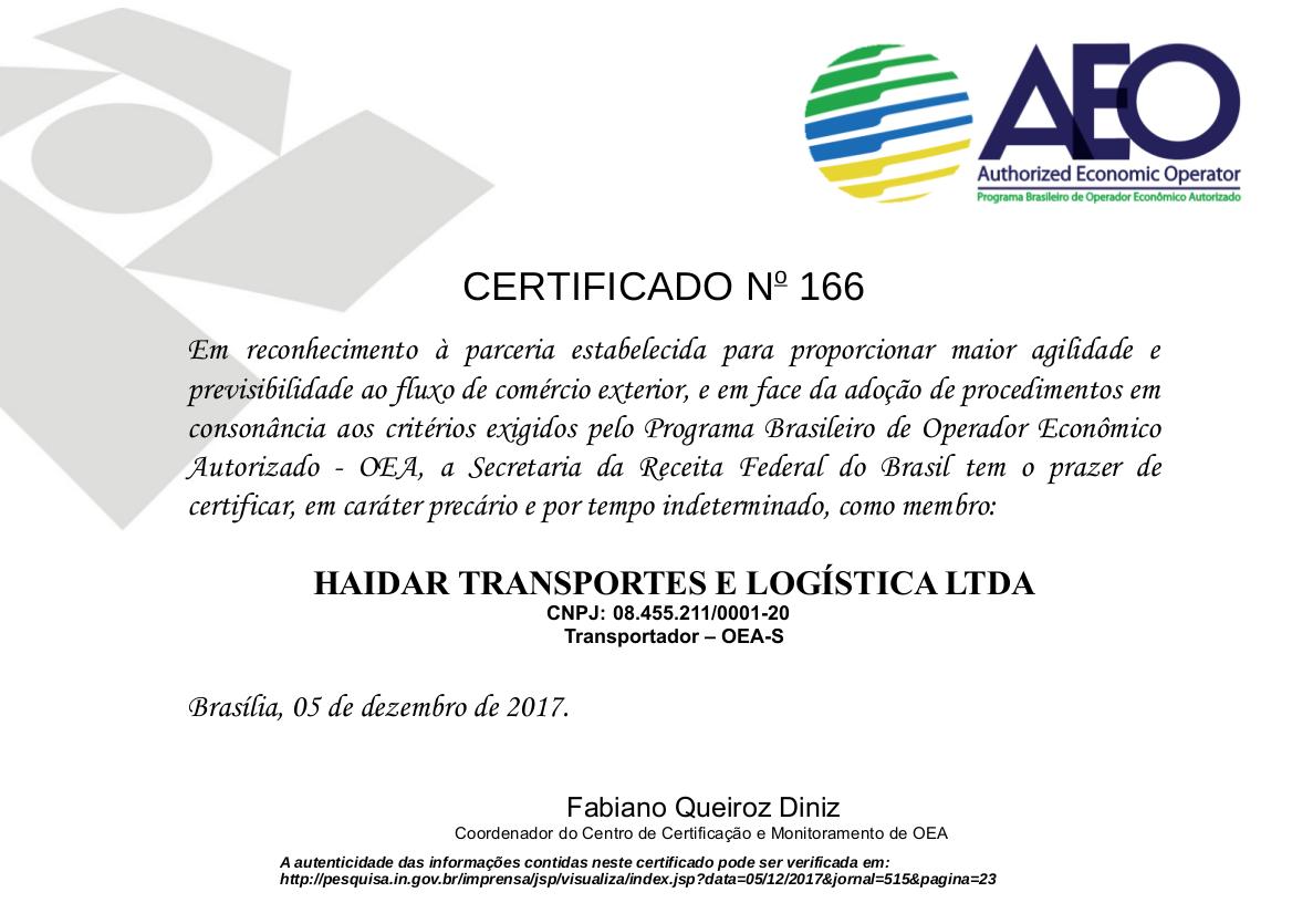 Certificado OEA-S